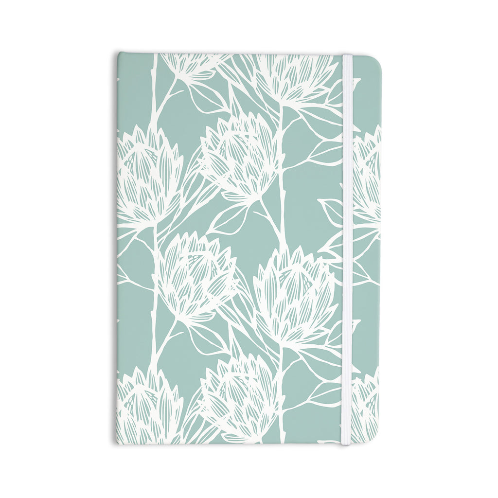 "Gill Eggleston ""Protea Jade White"" Blue Flowers Everything Notebook - KESS InHouse  - 1"