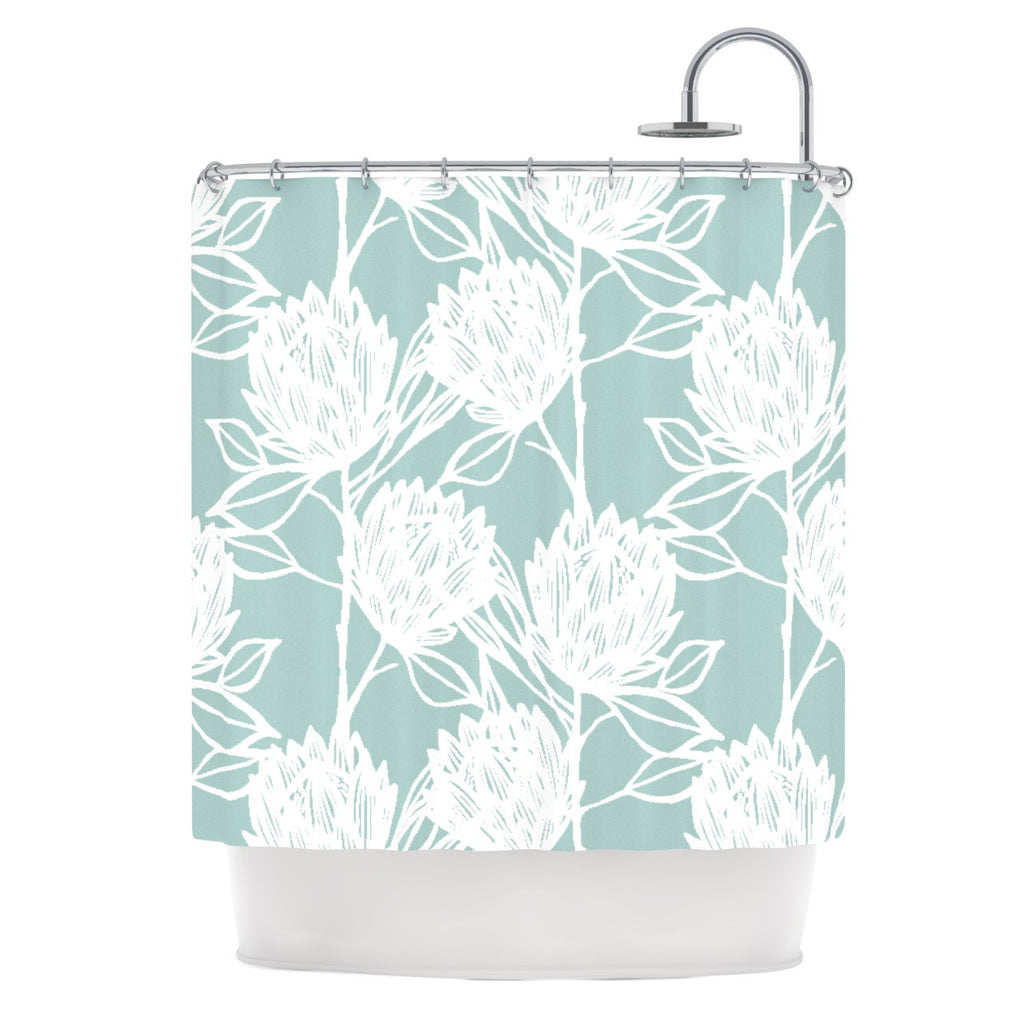 "Gill Eggleston ""Protea Jade White"" Blue Flowers Shower Curtain - KESS InHouse"