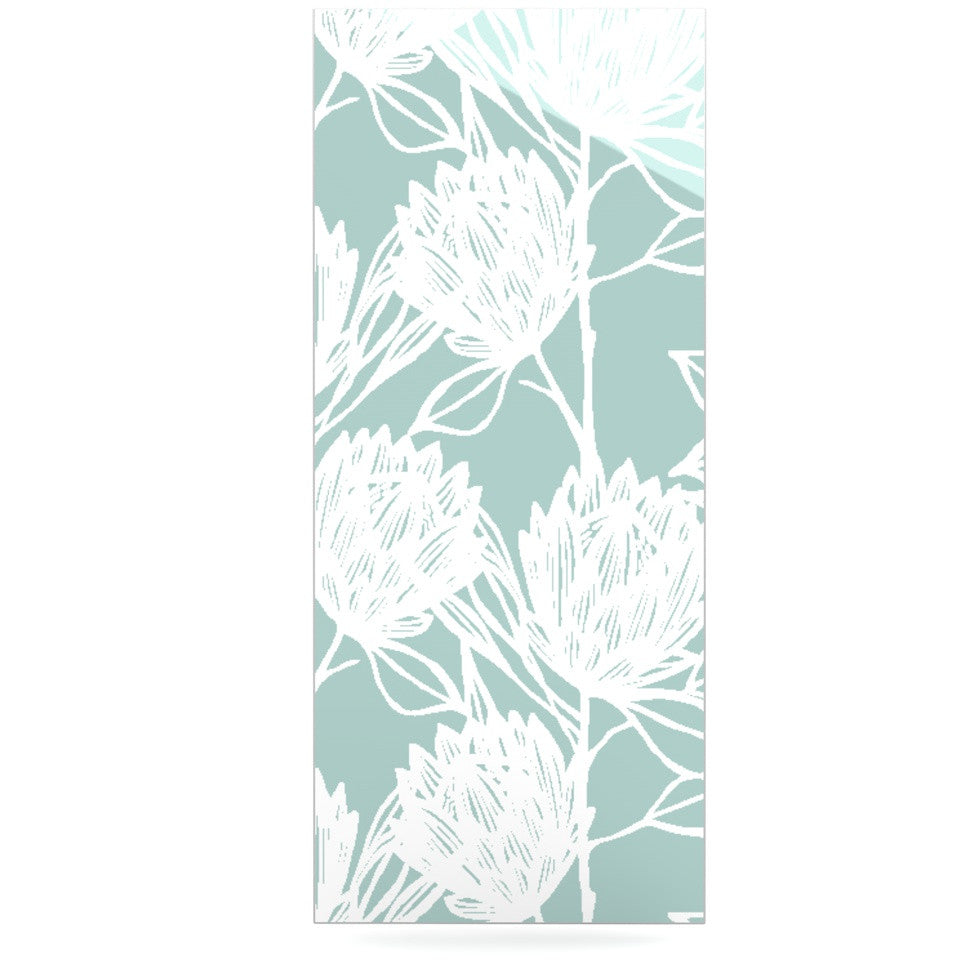 "Gill Eggleston ""Protea Jade White"" Blue Flowers Luxe Rectangle Panel - KESS InHouse  - 1"