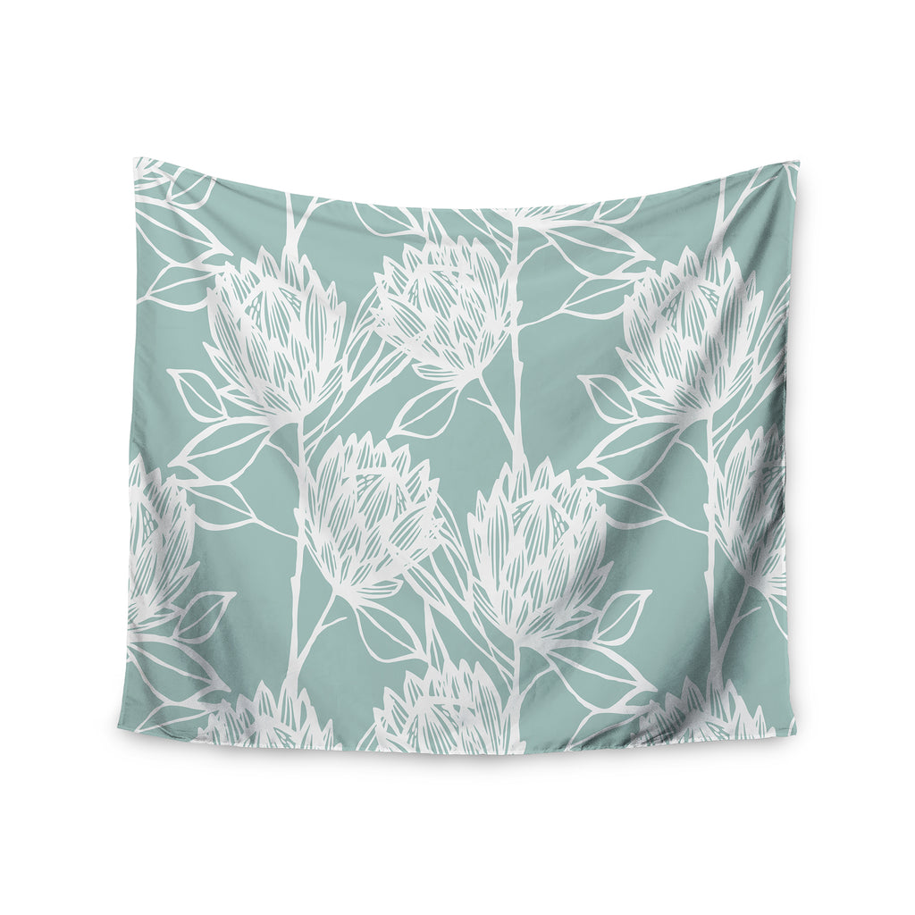 "Gill Eggleston ""Protea Jade White"" Blue Flowers Wall Tapestry - Outlet Item"