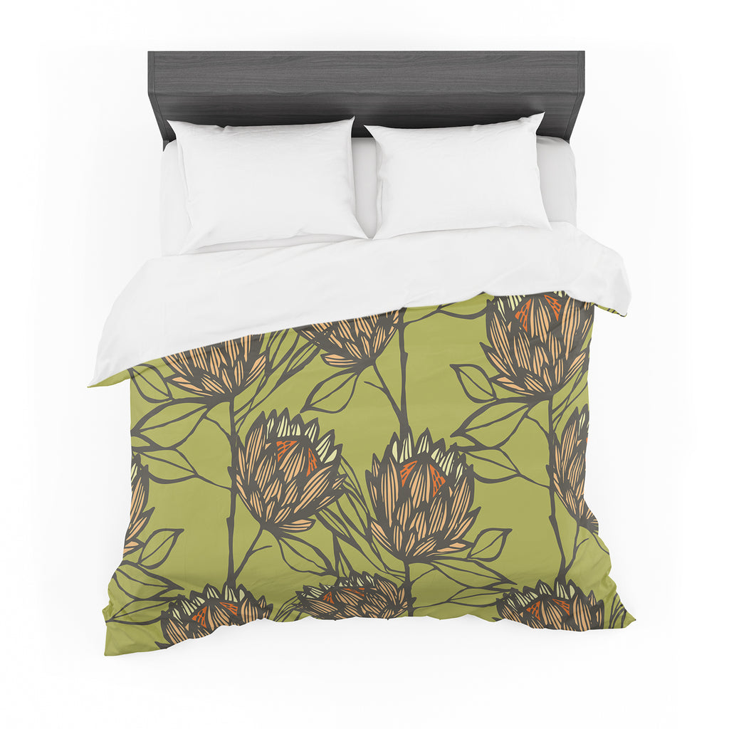 "Gill Eggleston ""Protea Olive"" Green Orange Featherweight Duvet Cover"