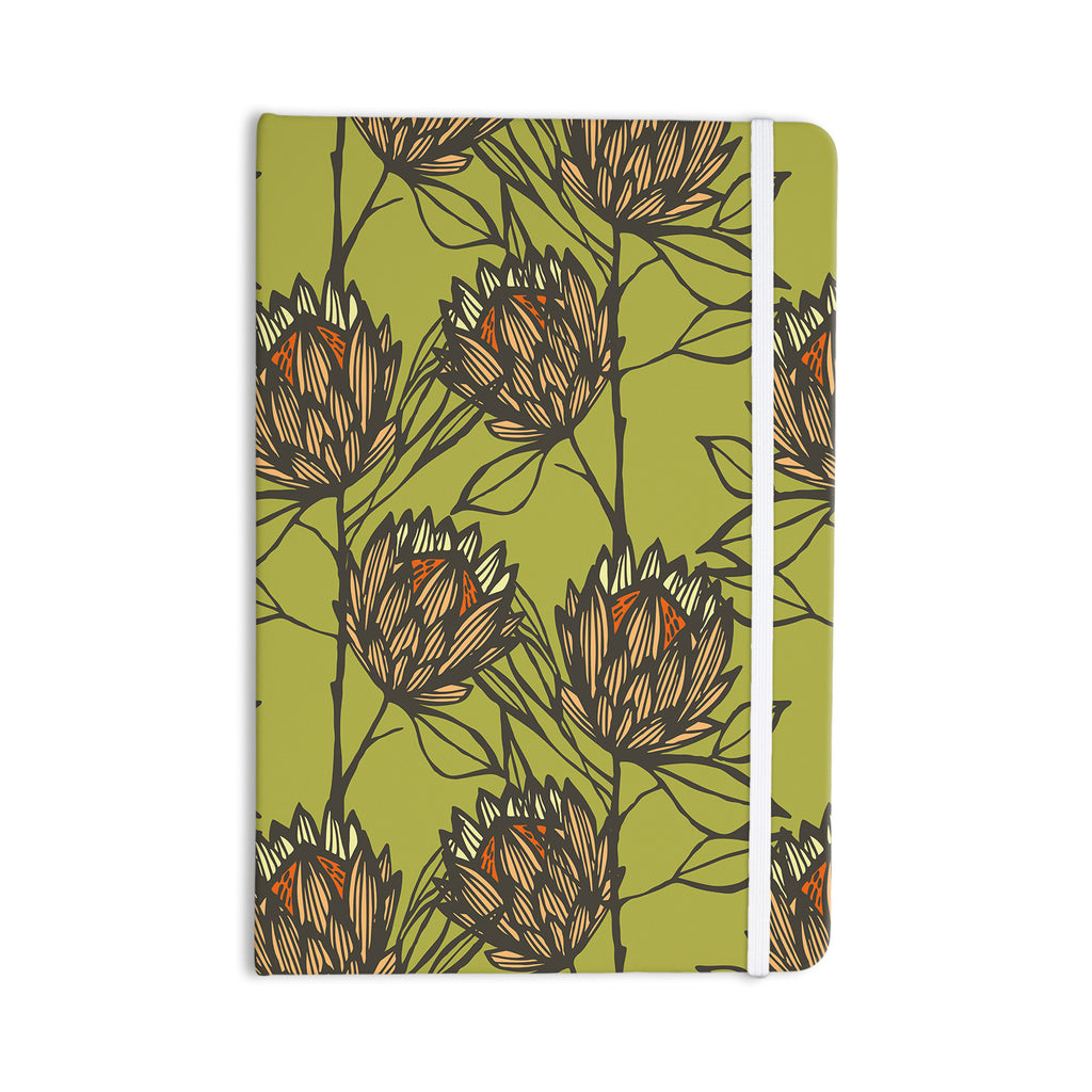 "Gill Eggleston ""Protea Olive"" Green Orange Everything Notebook - KESS InHouse  - 1"