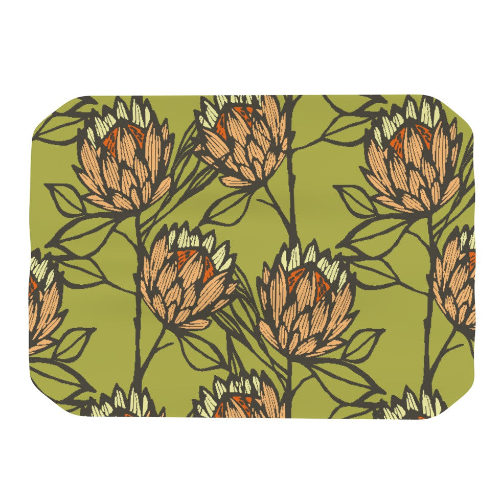 "Gill Eggleston ""Protea Olive"" Green Orange Place Mat - KESS InHouse"