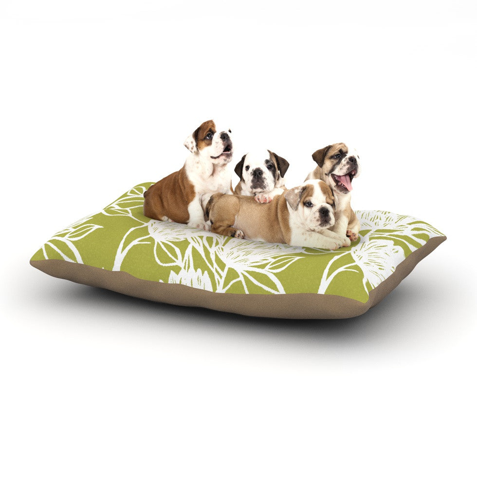 "Gill Eggleston ""Protea Olive White"" Green Flowers Dog Bed - KESS InHouse  - 1"