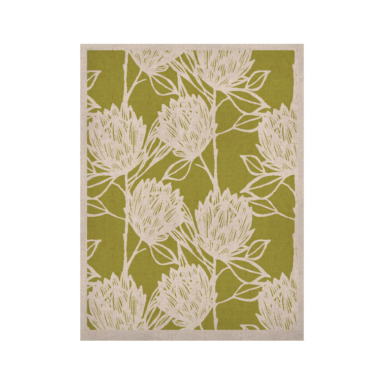 "Gill Eggleston ""Protea Olive White"" Green Flowers KESS Naturals Canvas (Frame not Included) - KESS InHouse  - 1"
