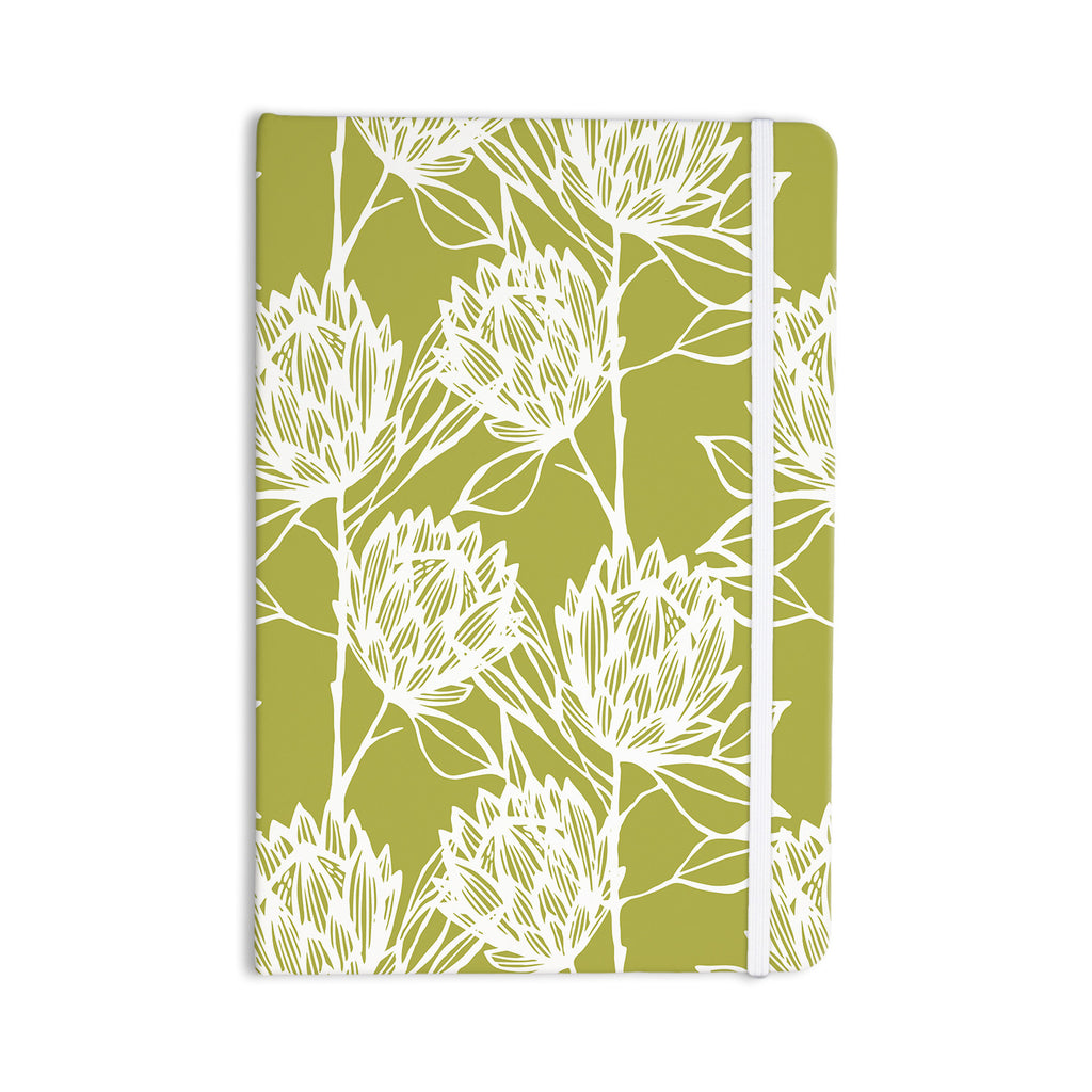 "Gill Eggleston ""Protea Olive White"" Green Flowers Everything Notebook - KESS InHouse  - 1"