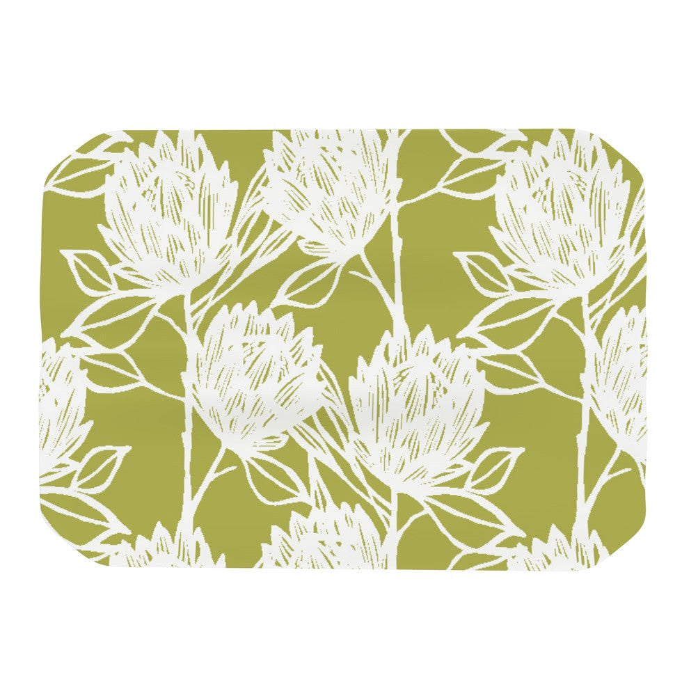 "Gill Eggleston ""Protea Olive White"" Green Flowers Place Mat - KESS InHouse"