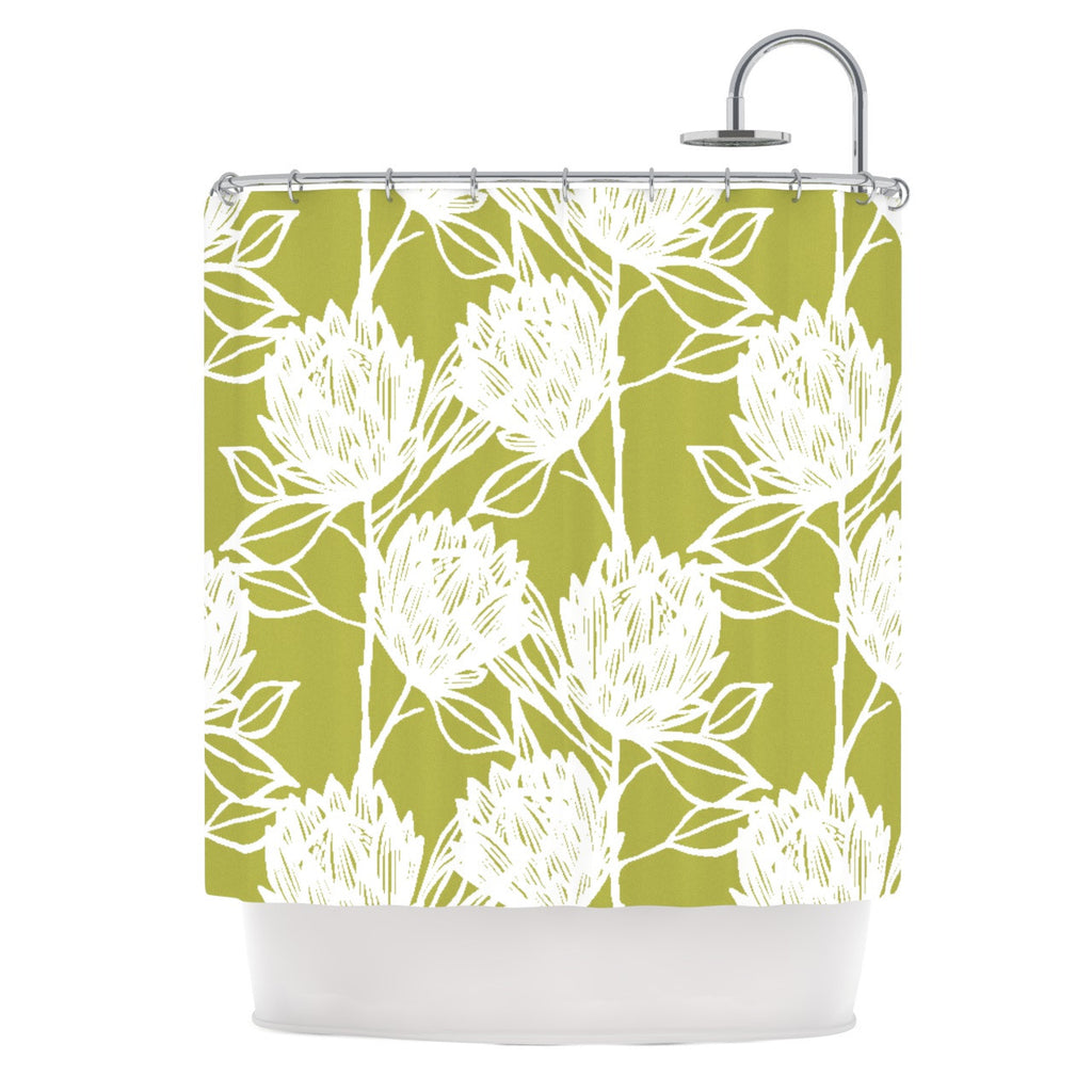 "Gill Eggleston ""Protea Olive White"" Green Flowers Shower Curtain - KESS InHouse"