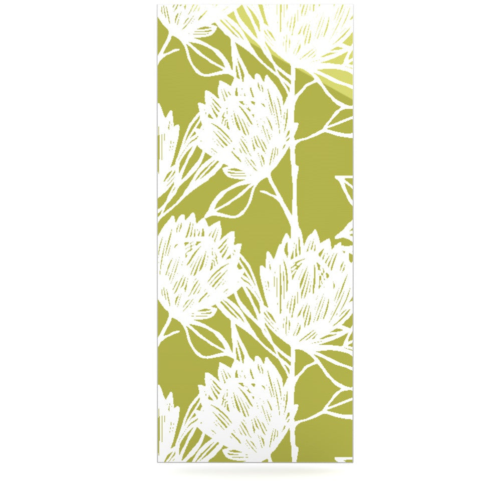 "Gill Eggleston ""Protea Olive White"" Green Flowers Luxe Rectangle Panel - KESS InHouse  - 1"