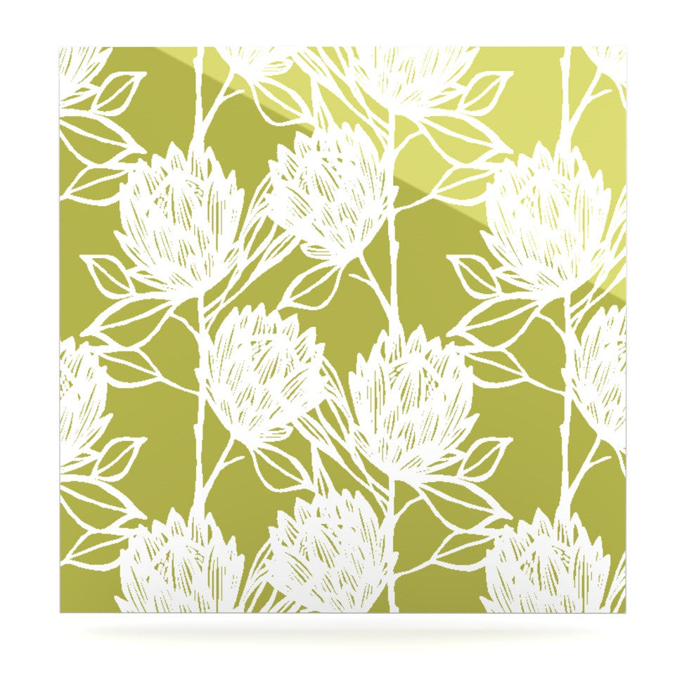 "Gill Eggleston ""Protea Olive White"" Green Flowers Luxe Square Panel - KESS InHouse  - 1"