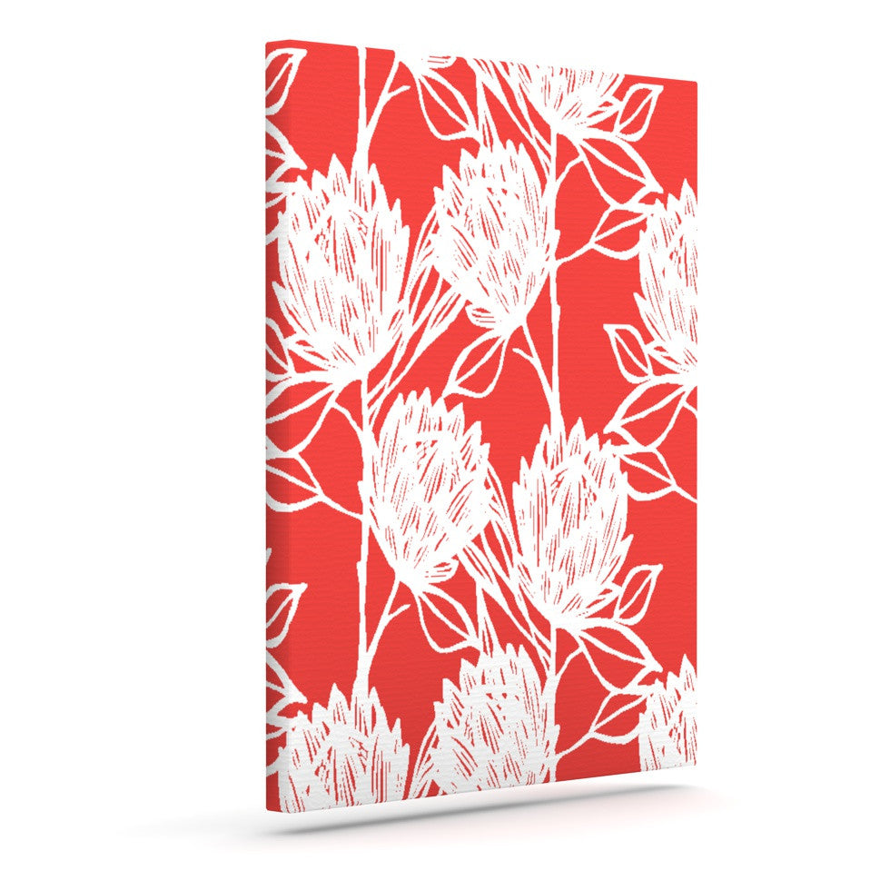 "Gill Eggleston ""Protea Strawberry White"" Red Flowers Outdoor Canvas Wall Art - KESS InHouse  - 1"