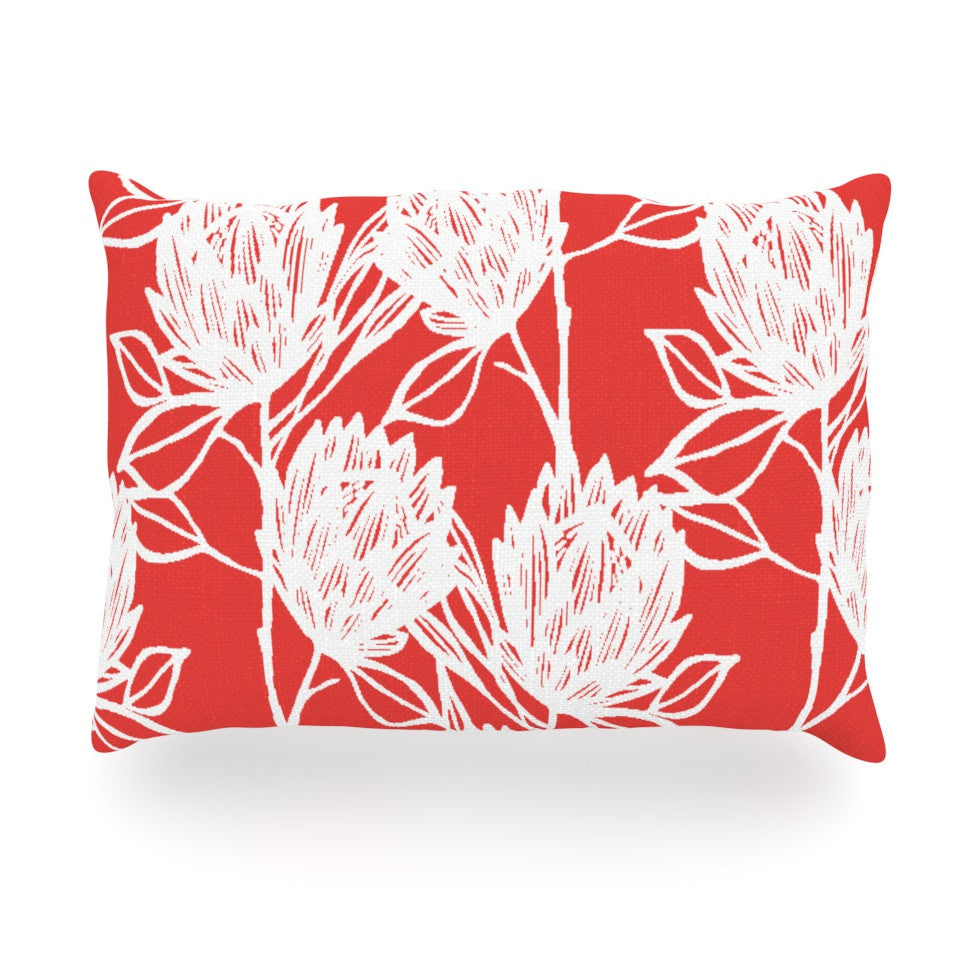 "Gill Eggleston ""Protea Strawberry White"" Red Flowers Oblong Pillow - KESS InHouse"