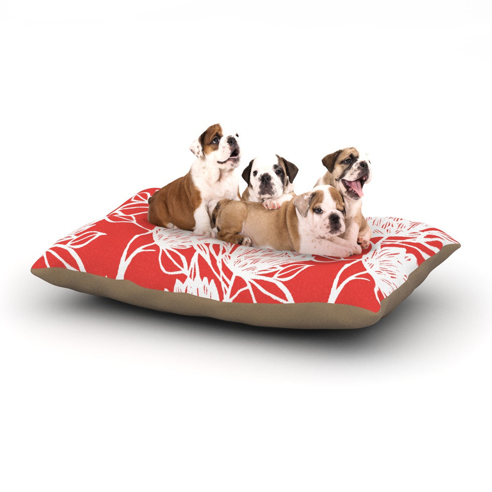 "Gill Eggleston ""Protea Strawberry White"" Red Flowers Dog Bed - KESS InHouse  - 1"