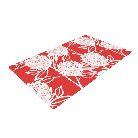 "Gill Eggleston ""Protea Strawberry White"" Red White Woven Area Rug - Outlet Item"