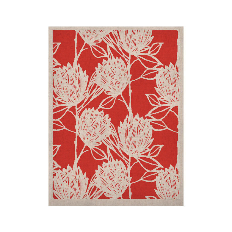 "Gill Eggleston ""Protea Strawberry White"" Red Flowers KESS Naturals Canvas (Frame not Included) - KESS InHouse  - 1"