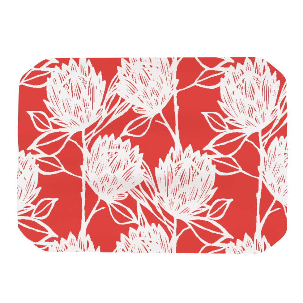 "Gill Eggleston ""Protea Strawberry White"" Red Flowers Place Mat - KESS InHouse"
