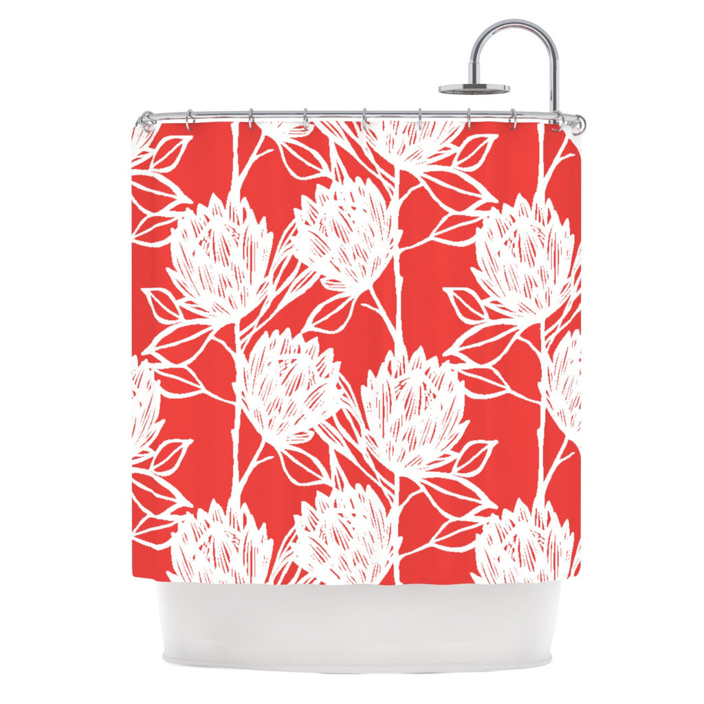 "Gill Eggleston ""Protea Strawberry White"" Red Flowers Shower Curtain - KESS InHouse"