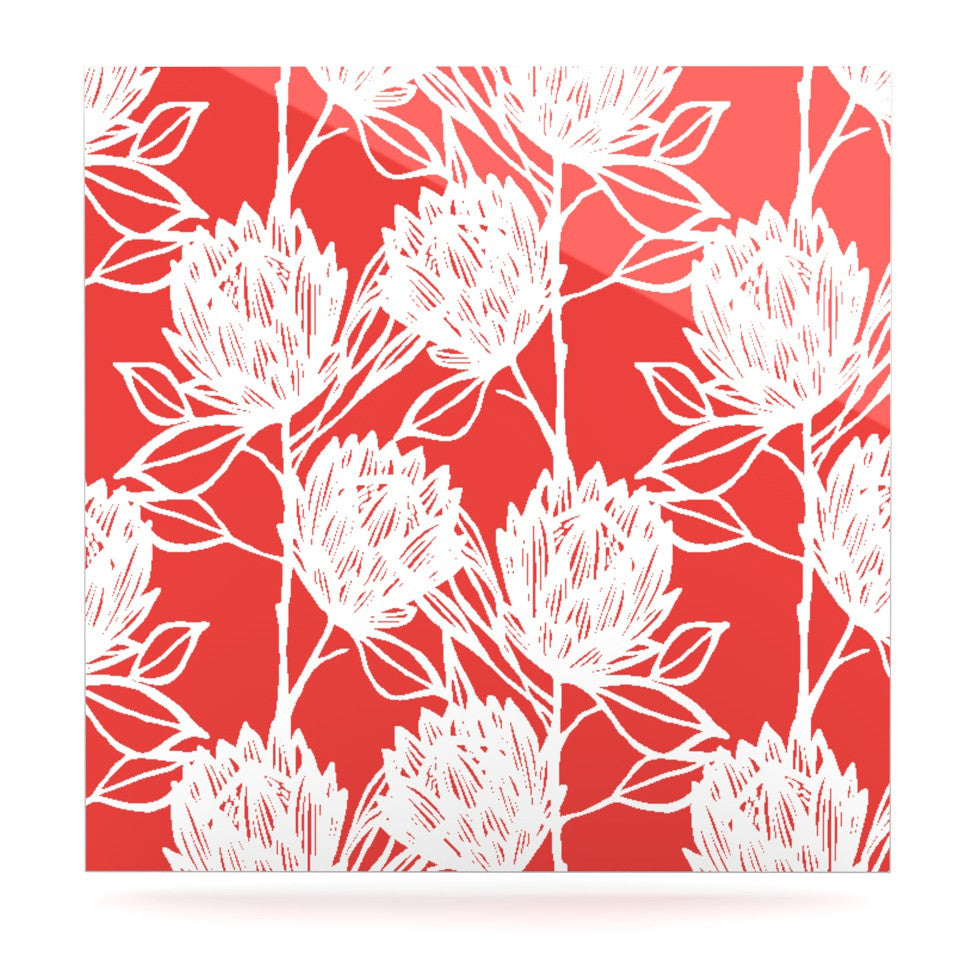 "Gill Eggleston ""Protea Strawberry White"" Red Flowers Luxe Square Panel - KESS InHouse  - 1"