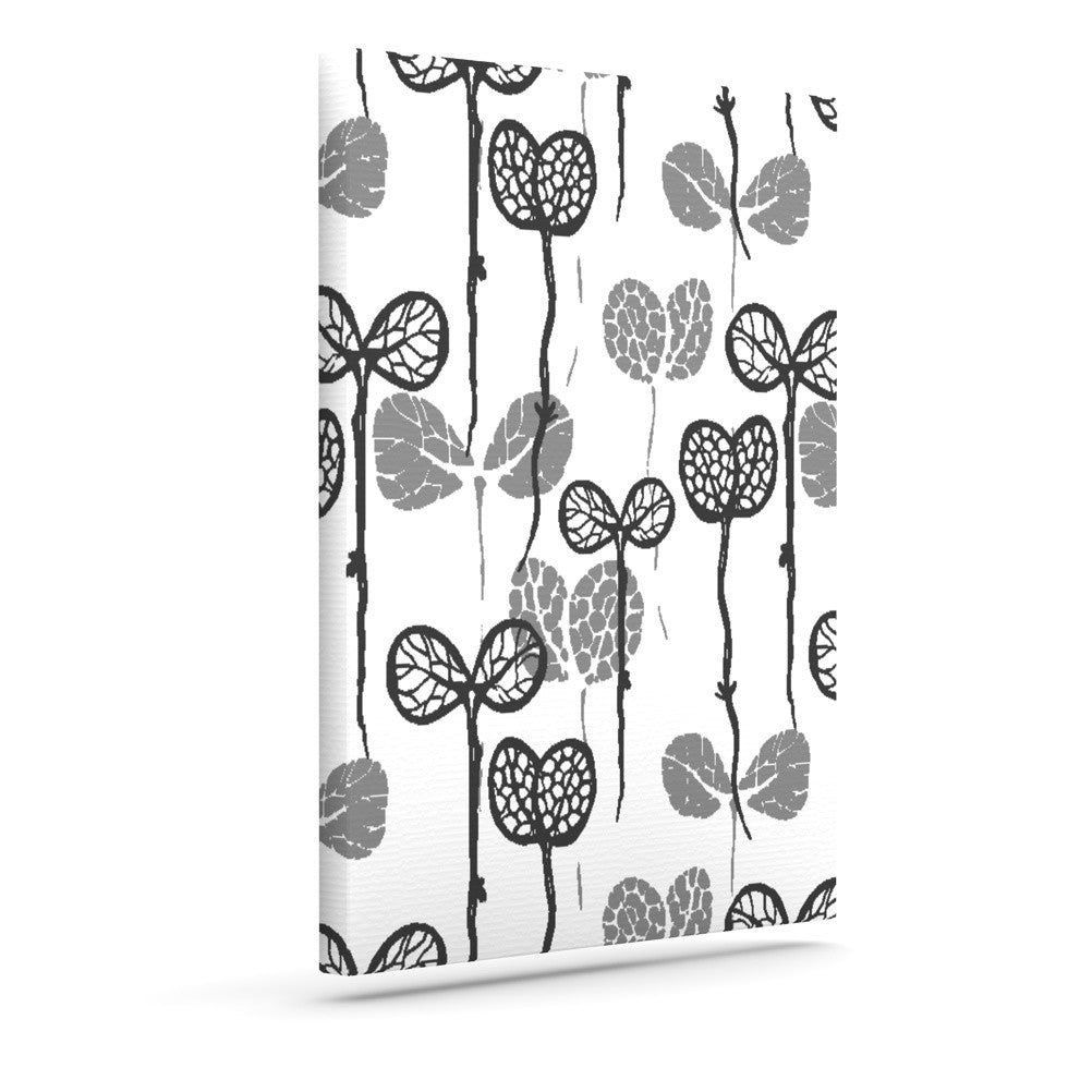 "Gill Eggleston ""Seedlings of Change"" White Gray Outdoor Canvas Wall Art - KESS InHouse  - 1"