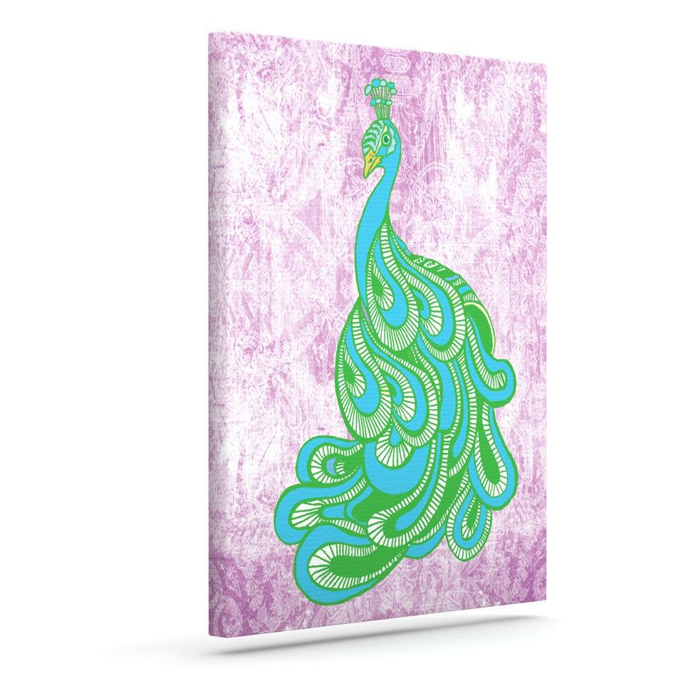 "Geordanna Cordero-Fields ""Beauty in Waiting"" Green Pink Outdoor Canvas Wall Art - KESS InHouse  - 1"