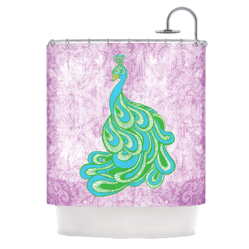 "Geordanna Cordero-Fields ""Beauty in Waiting"" Green Pink Shower Curtain - KESS InHouse"