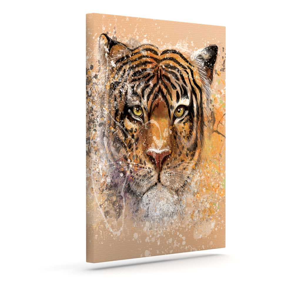 "Geordanna Cordero-Fields ""My Tiger"" Orange Tan Outdoor Canvas Wall Art - KESS InHouse  - 1"