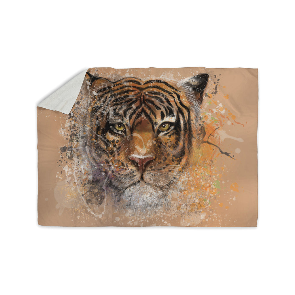 "Geordanna Cordero-Fields ""My Tiger"" Orange Tan Sherpa Blanket - KESS InHouse  - 1"