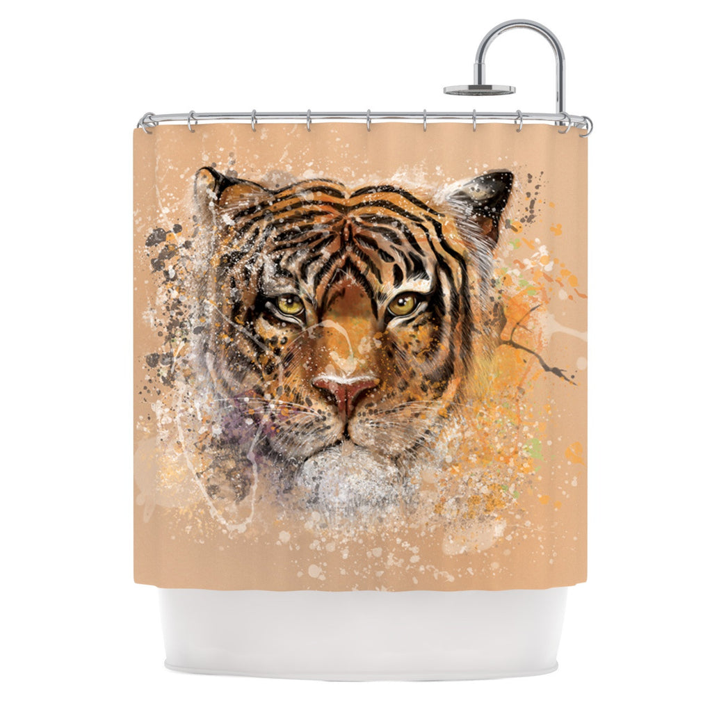 "Geordanna Cordero-Fields ""My Tiger"" Orange Tan Shower Curtain - KESS InHouse"
