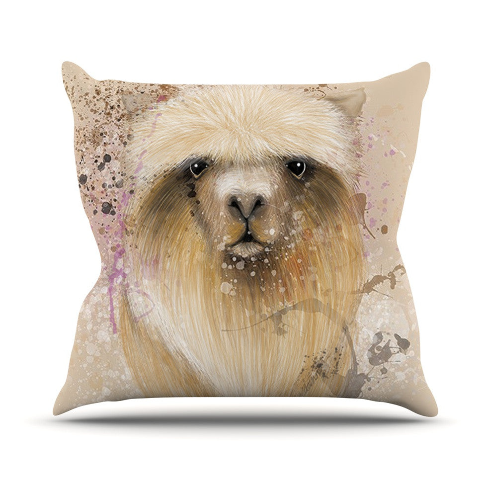 "Geordanna Cordero-Fields ""Llama Me"" Tan Throw Pillow - KESS InHouse  - 1"