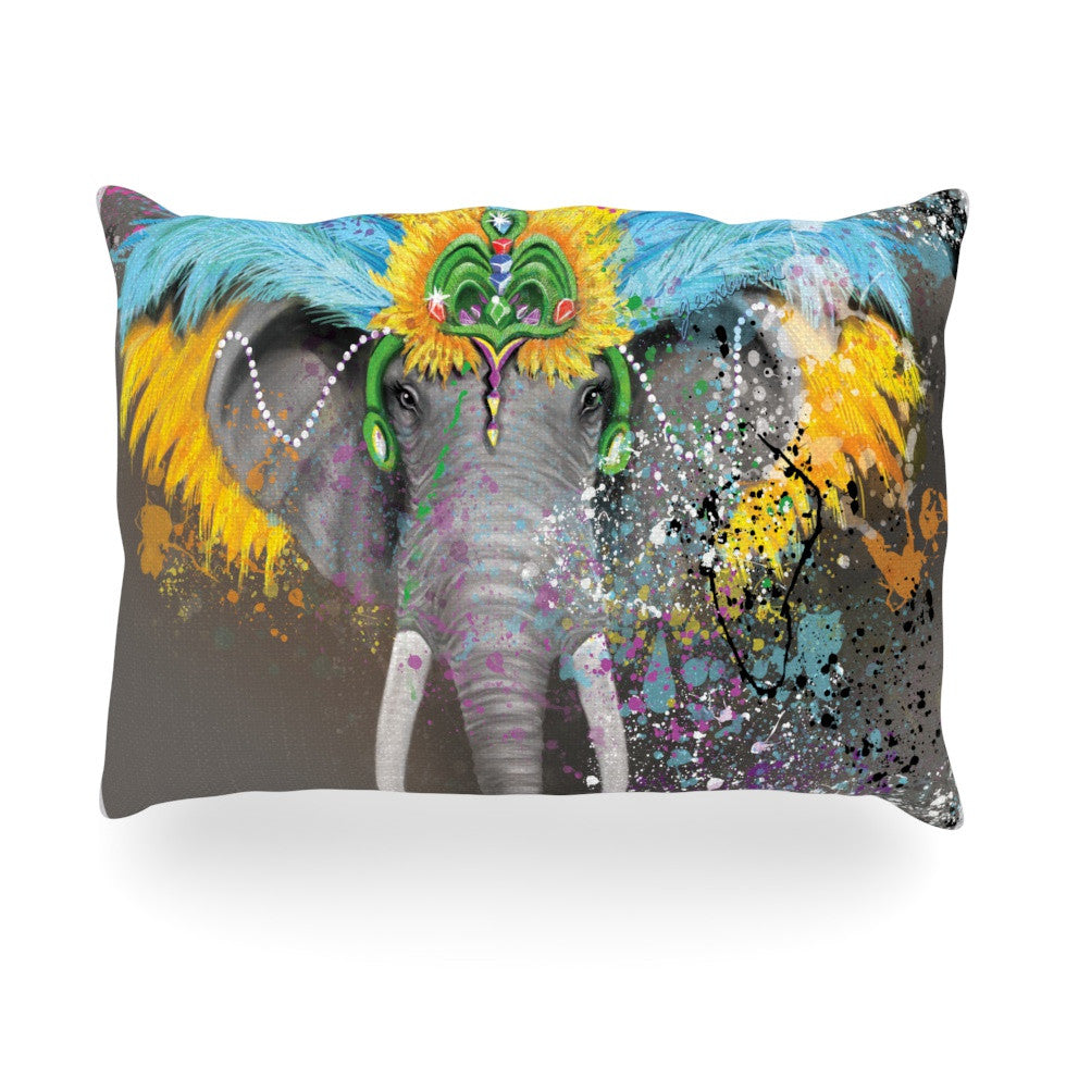 "Geordanna Cordero-Fields ""My Elephant with Headdress"" Gray Rainbow Oblong Pillow - KESS InHouse"