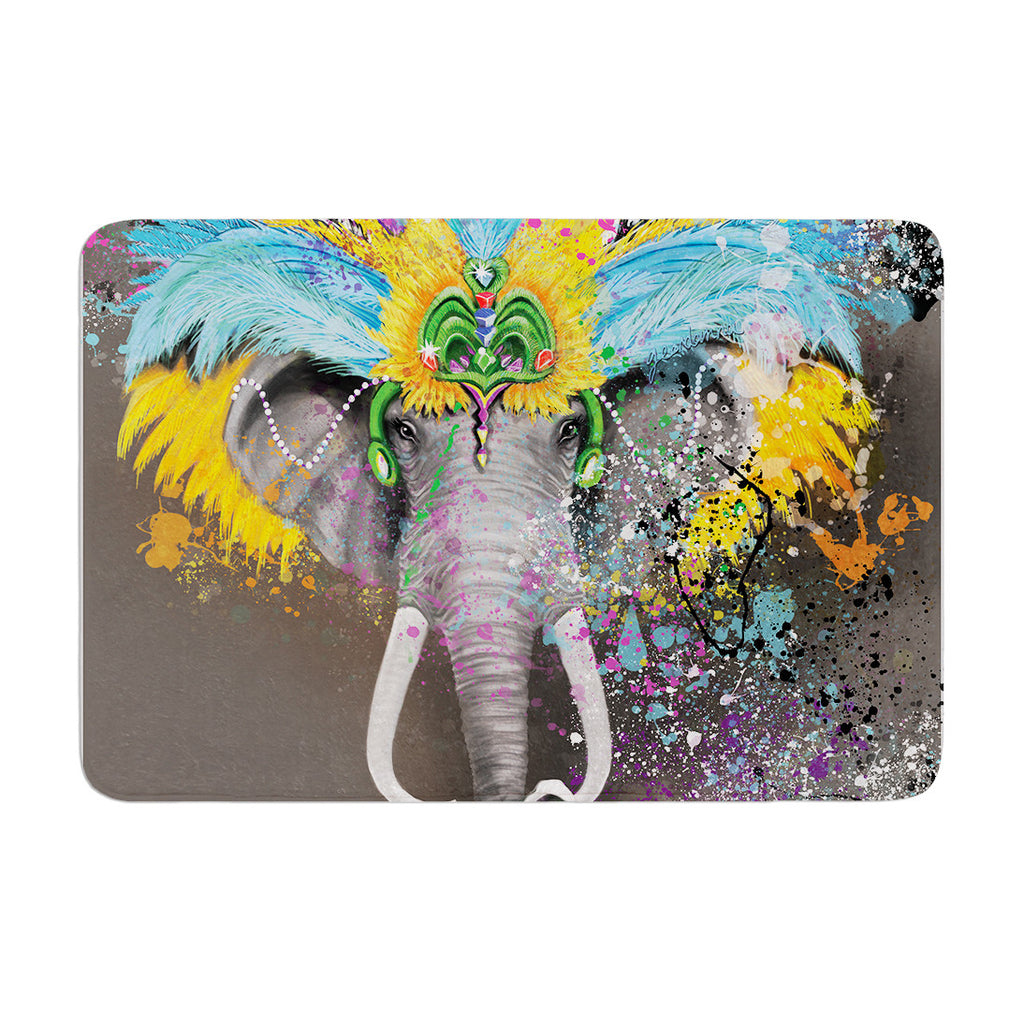 "Geordanna Cordero-Fields ""My Elephant with Headdress"" Gray Rainbow Memory Foam Bath Mat - KESS InHouse"