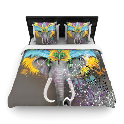 "Geordanna the Artist ""My Elephant with Headdress"" Gray Rainbow Woven Duvet Cover - Outlet Item"