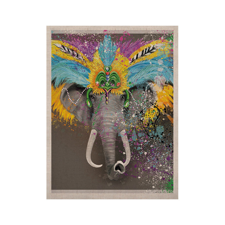 "Geordanna Cordero-Fields ""My Elephant with Headdress"" Gray Rainbow KESS Naturals Canvas (Frame not Included) - KESS InHouse  - 1"