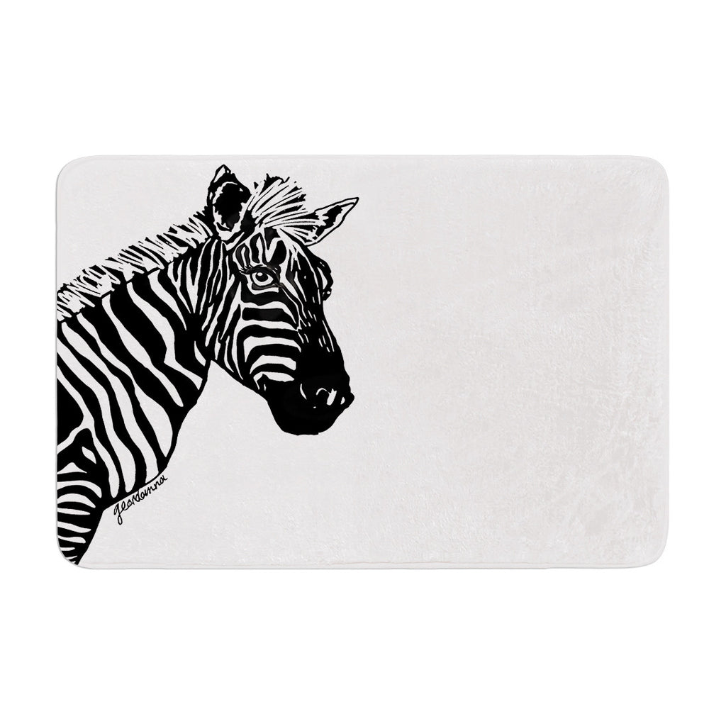 "Geordanna Cordero-Fields ""My Zebra Head"" Black White Memory Foam Bath Mat - KESS InHouse"