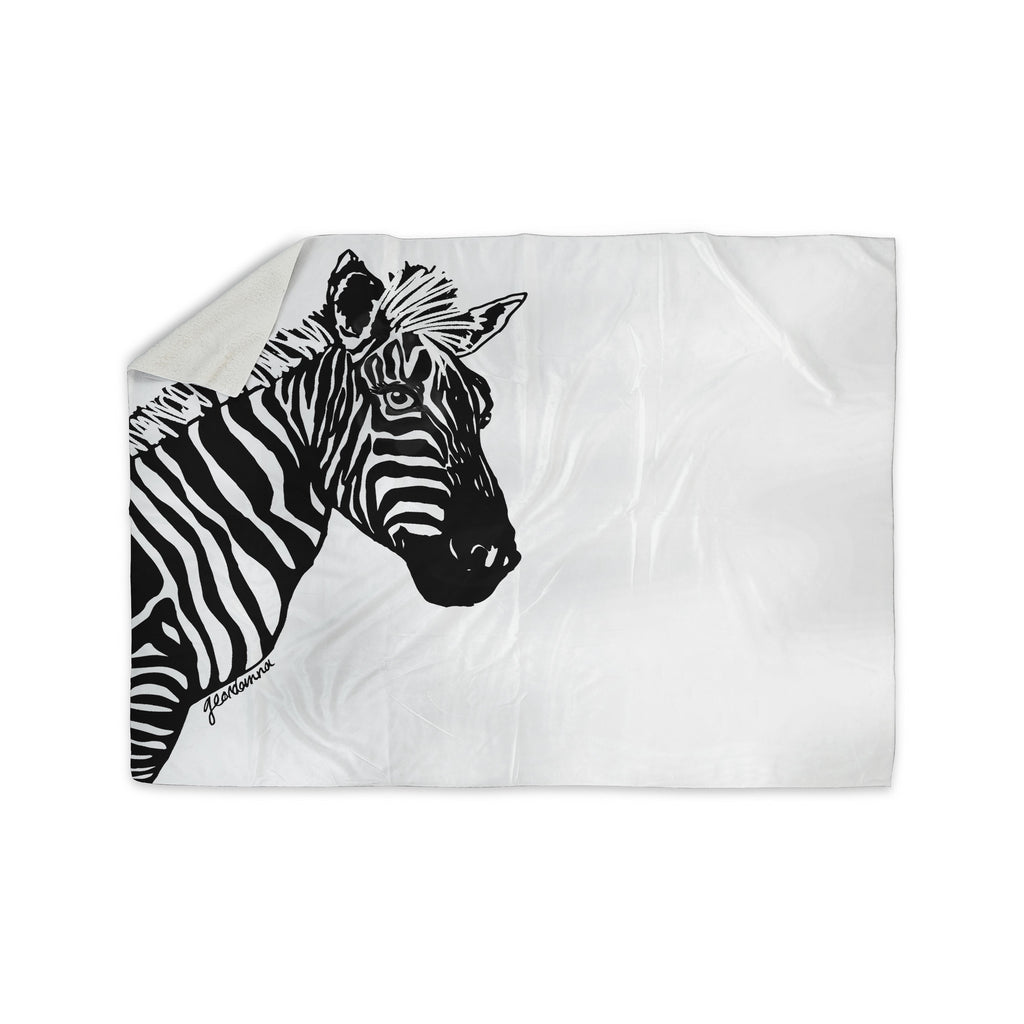 "Geordanna Cordero-Fields ""My Zebra Head"" Black White Sherpa Blanket - KESS InHouse  - 1"