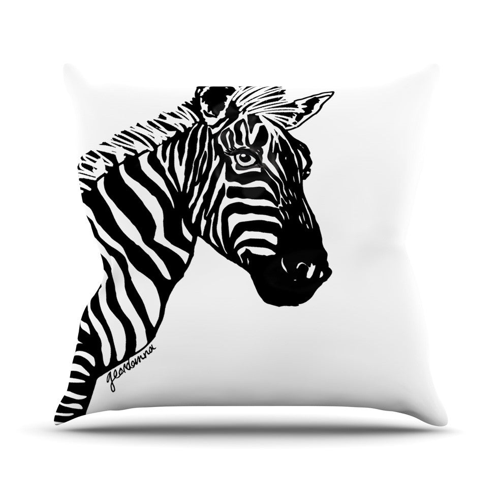 "Geordanna Cordero-Fields ""My Zebra Head"" Black White Outdoor Throw Pillow - KESS InHouse  - 1"