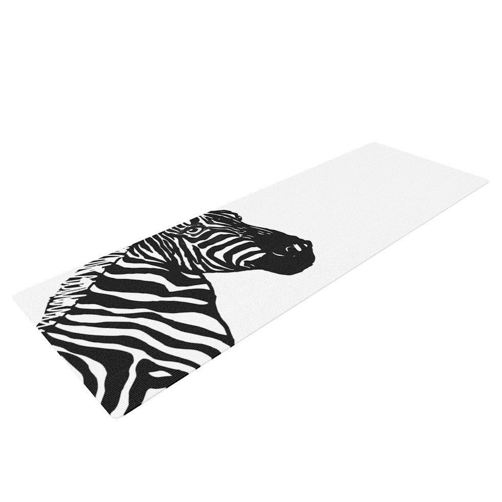 "Geordanna Cordero-Fields ""My Zebra Head"" Black White Yoga Mat - KESS InHouse  - 1"