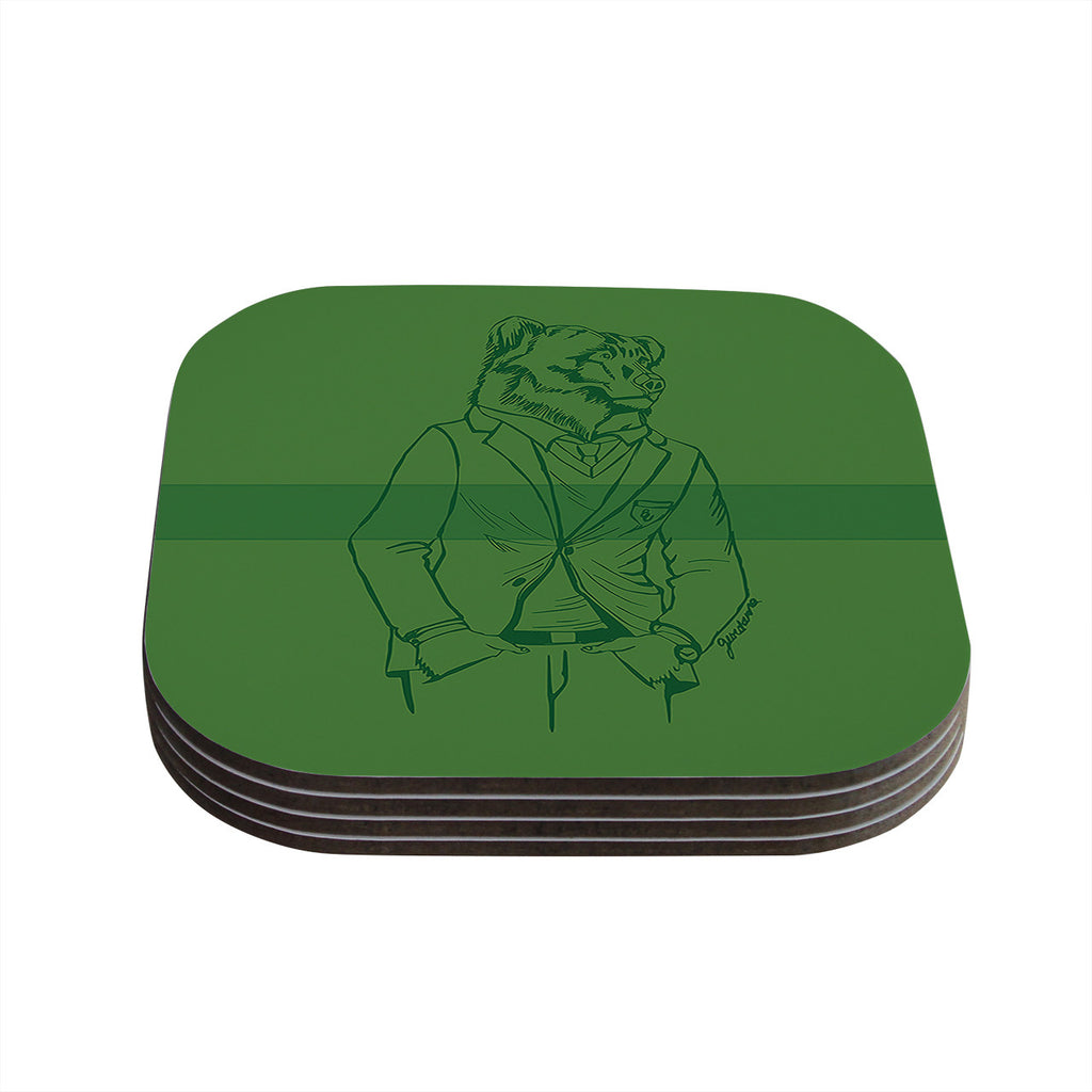 "Geordanna Cordero-Fields ""Dapper Bear Green"" Emerald Animal Coasters (Set of 4)"