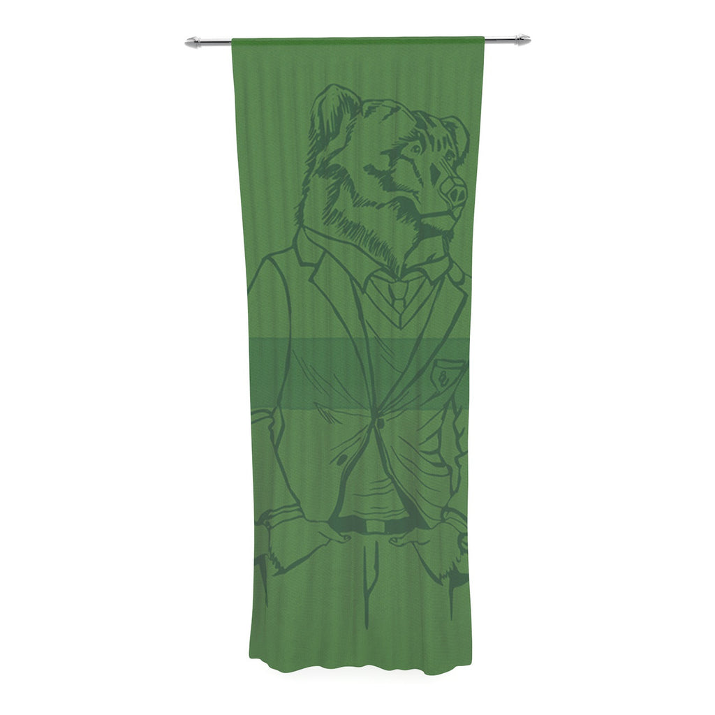"Geordanna Cordero-Fields ""Dapper Bear Green"" Emerald Animal Decorative Sheer Curtain - KESS InHouse  - 1"