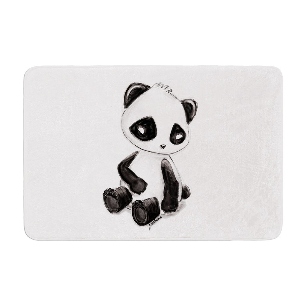 "Geordanna Cordero-Fields ""My Panda Sketch"" Black White Memory Foam Bath Mat - KESS InHouse"