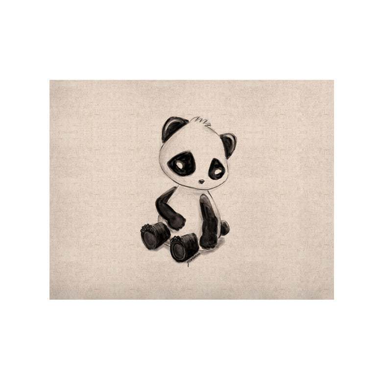 "Geordanna Cordero-Fields ""My Panda Sketch"" Black White KESS Naturals Canvas (Frame not Included) - KESS InHouse  - 1"