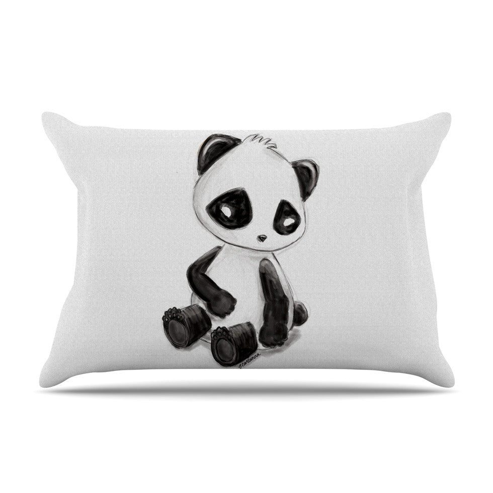 "Geordanna Cordero-Fields ""My Panda Sketch"" Black White Pillow Sham - KESS InHouse"