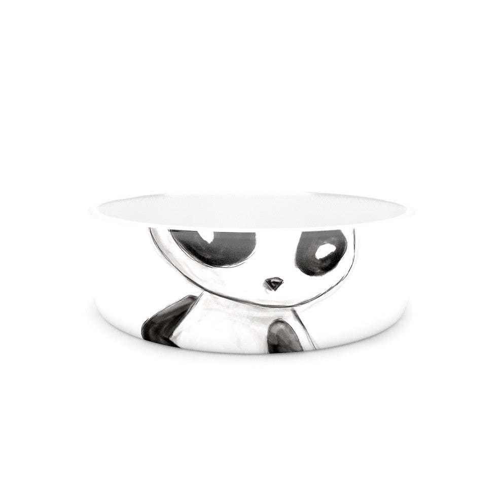 "Geordanna Cordero-Fields ""My Panda Sketch"" Black White Pet Bowl - KESS InHouse"