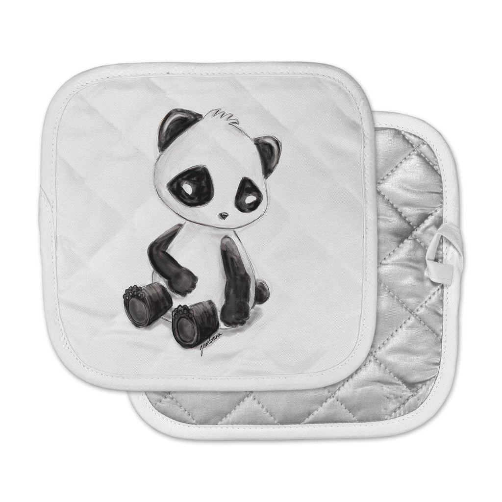 "Geordanna Cordero-Fields ""My Panda Sketch"" Black White Pot Holder"