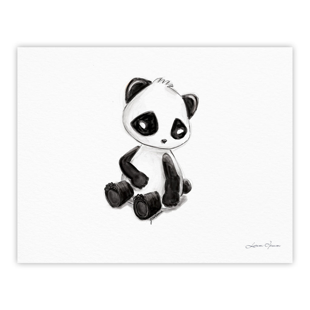 "Geordanna Cordero-Fields ""My Panda Sketch"" Black White Fine Art Gallery Print - KESS InHouse"