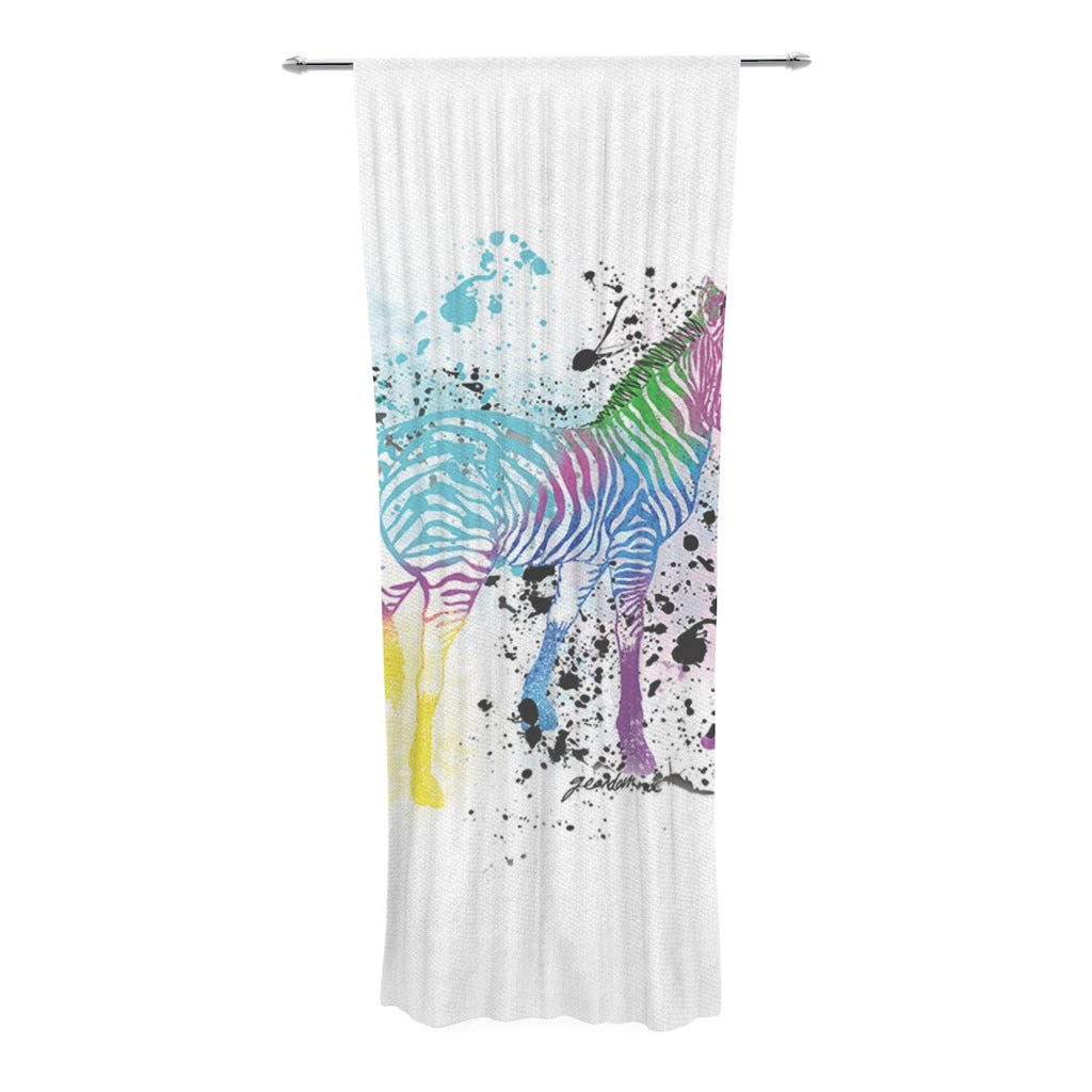 "Geordanna Cordero-Fields ""My Zebra"" White Rainbow Decorative Sheer Curtain - KESS InHouse  - 1"