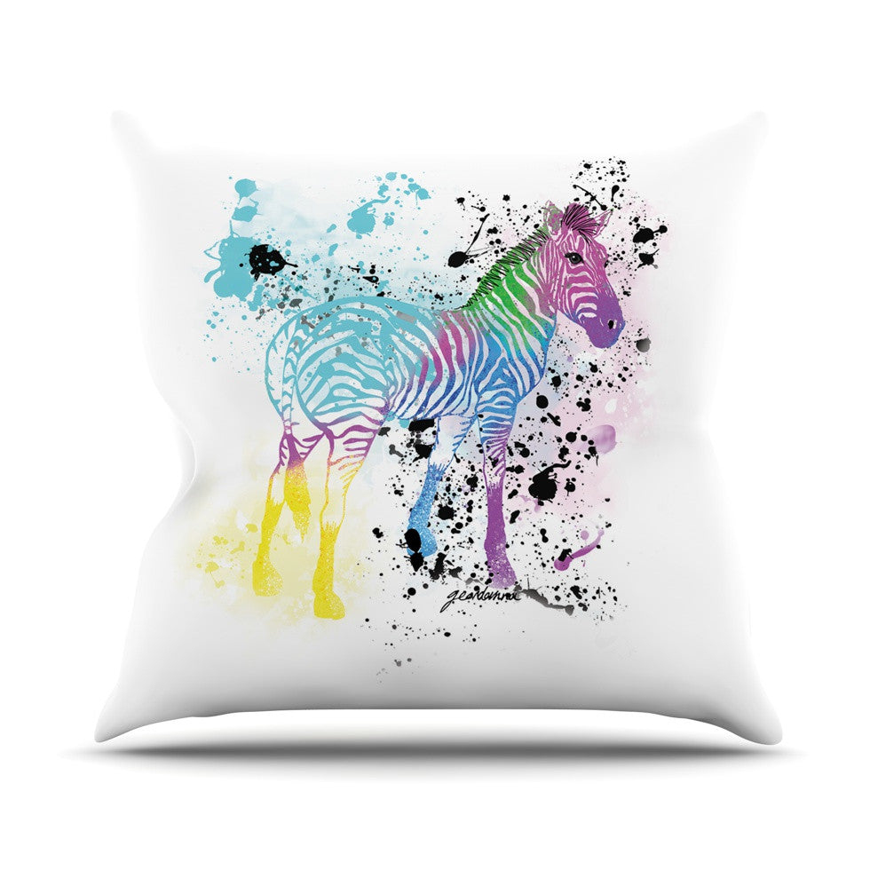 "Geordanna Cordero-Fields ""My Zebra"" White Rainbow Outdoor Throw Pillow - KESS InHouse  - 1"