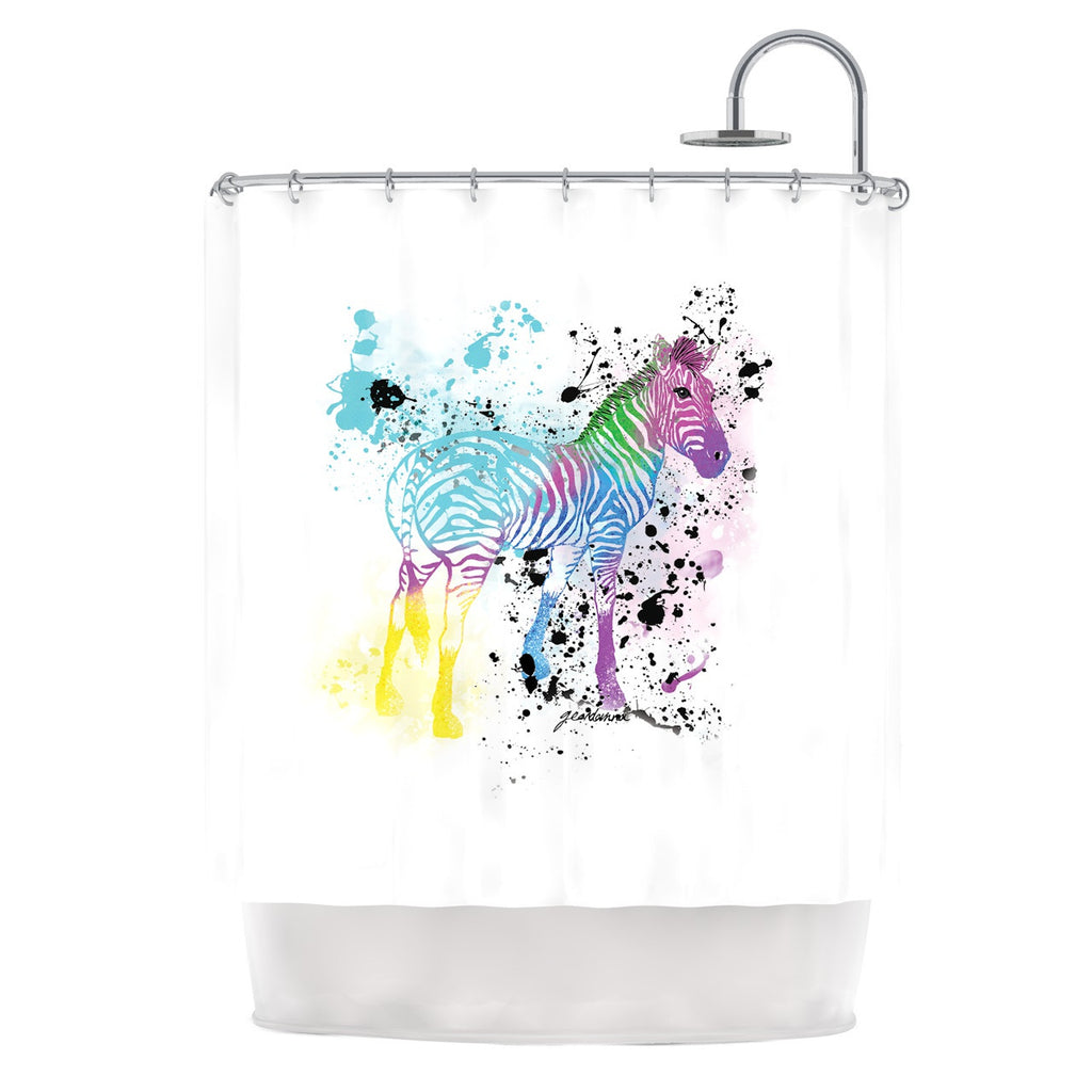 "Geordanna Cordero-Fields ""My Zebra"" White Rainbow Shower Curtain - KESS InHouse"