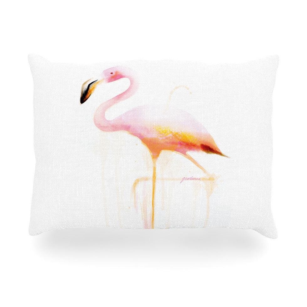 "Geordanna Cordero-Fields ""My Flamingo"" Pink White Oblong Pillow - KESS InHouse"