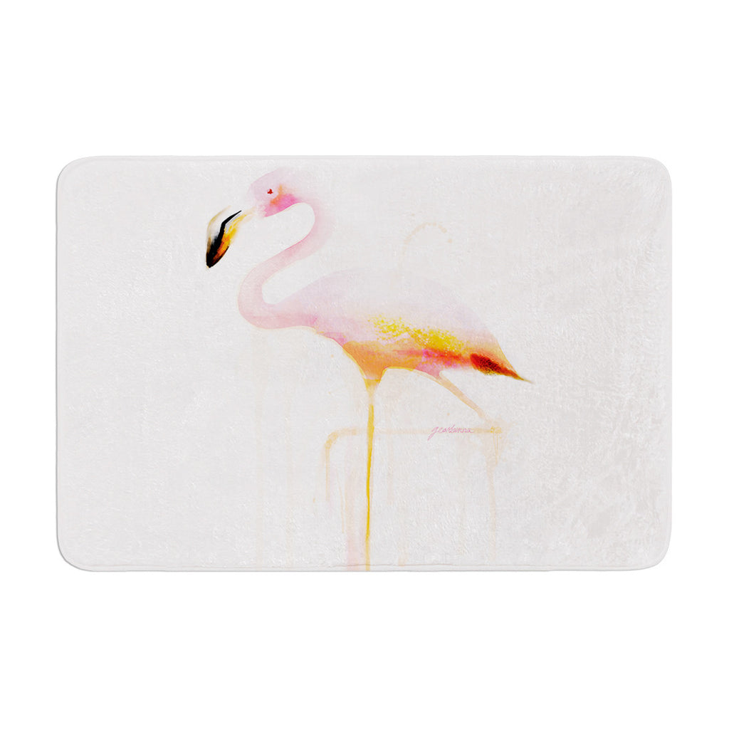 "Geordanna Cordero-Fields ""My Flamingo"" Pink White Memory Foam Bath Mat - KESS InHouse"